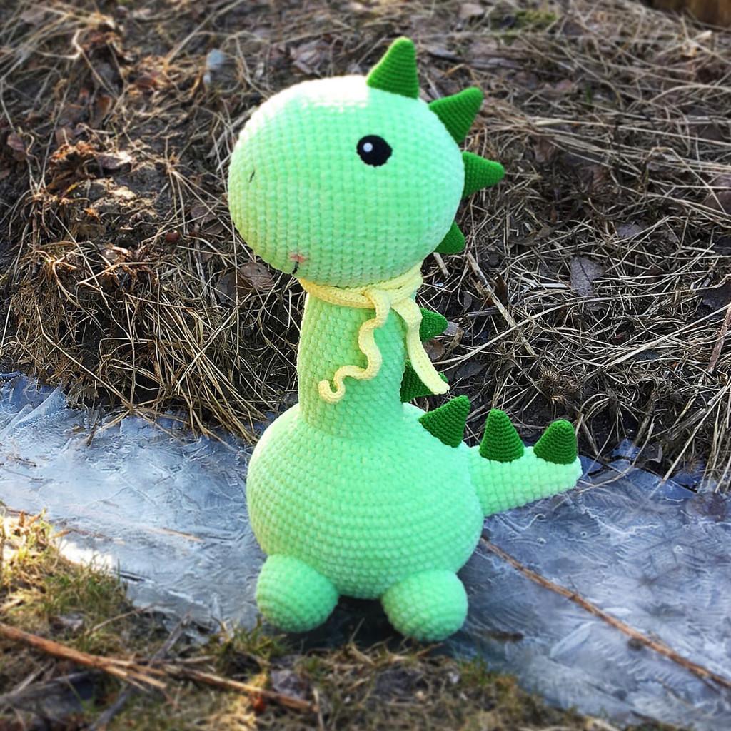 Большой динозаврик, фото, картинка, схема, описание, бесплатно, крючком, амигуруми