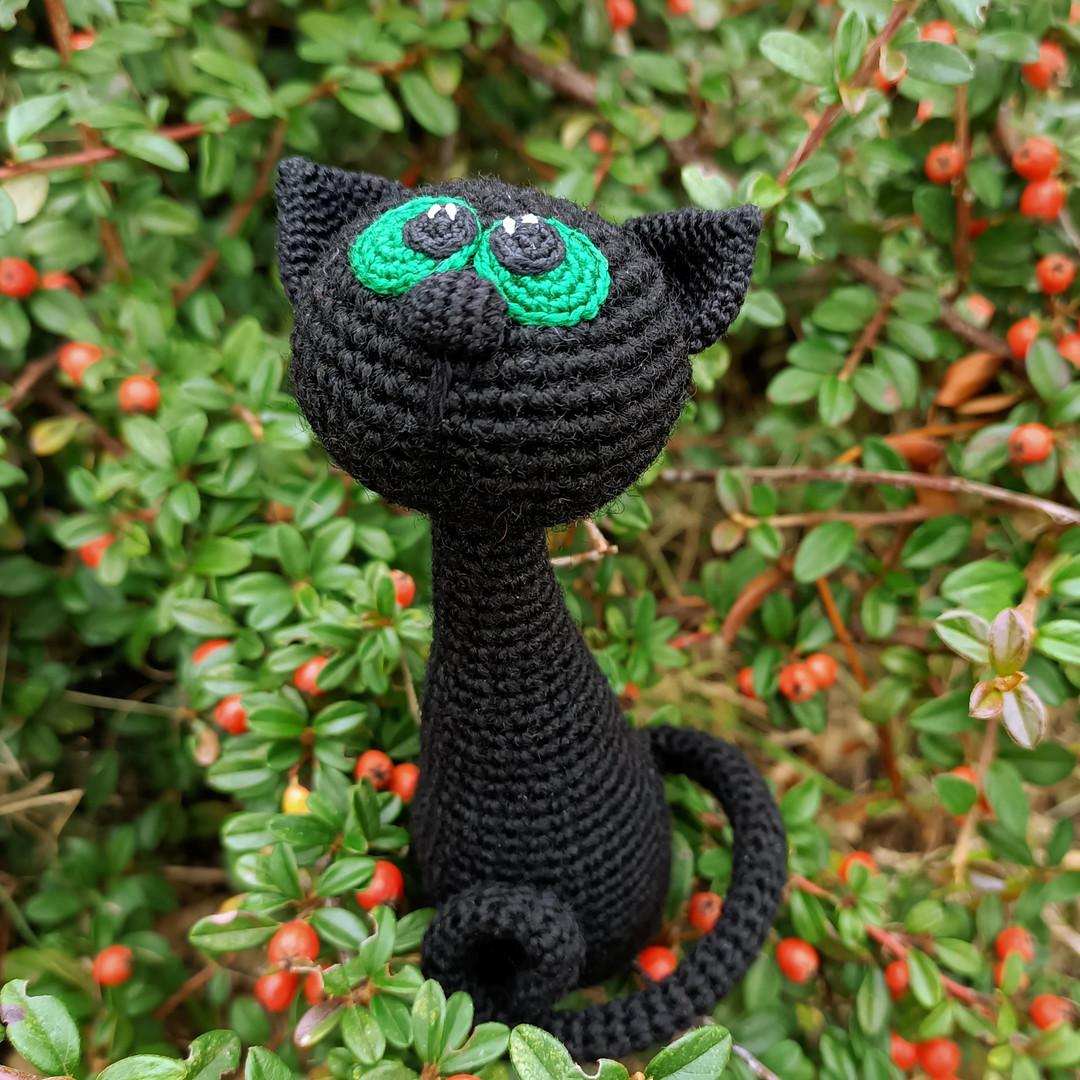 Чёрная кошка, фото, картинка, схема, описание, бесплатно, крючком, амигуруми