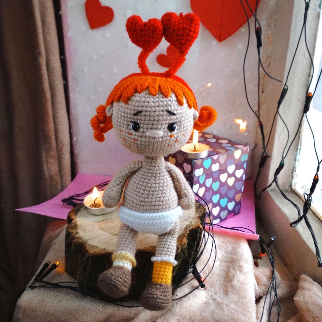 Девочка Валентинка, фото, картинка, схема, описание, бесплатно, крючком, амигуруми