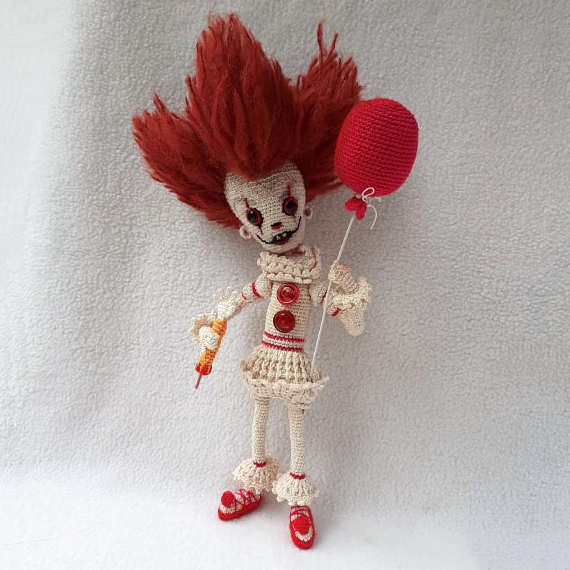 Клоун Пеннивайз, фото, картинка, схема, описание, бесплатно, крючком, амигуруми