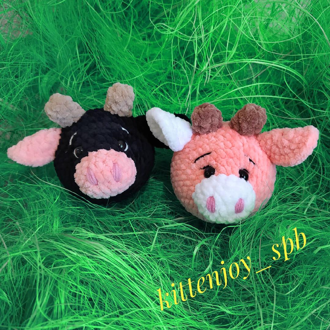 Коровушка Мила и бычок Круглик, фото, картинка, схема, описание, бесплатно, крючком, амигуруми