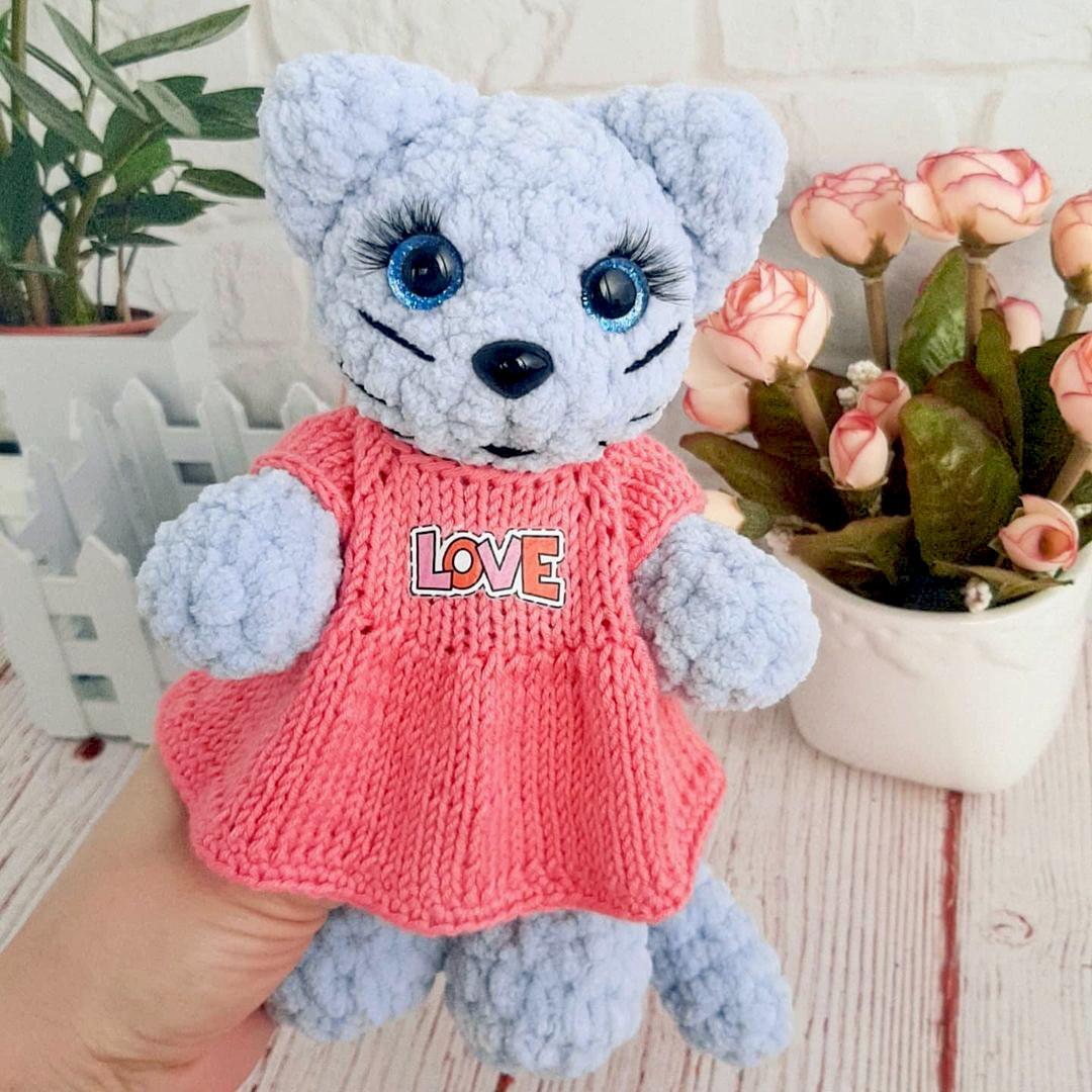 Кошечка в платье, фото, картинка, схема, описание, бесплатно, крючком, амигуруми