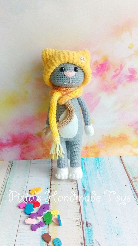 кот модник и кошка фото вязаной игрушки 575x1024