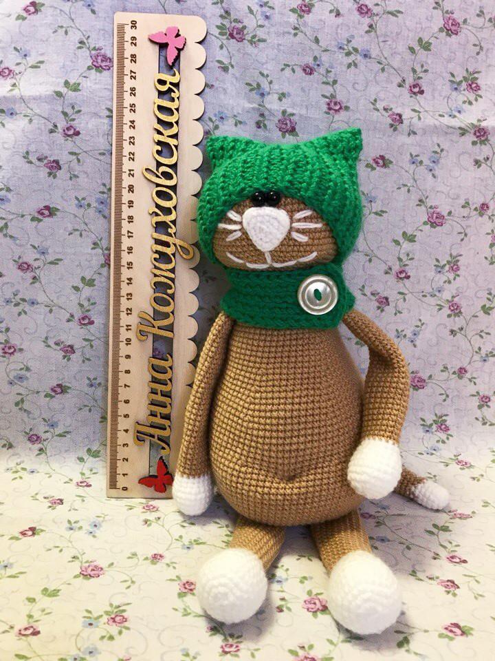 Кот в шапке, фото, картинка, схема, описание, бесплатно, крючком, амигуруми