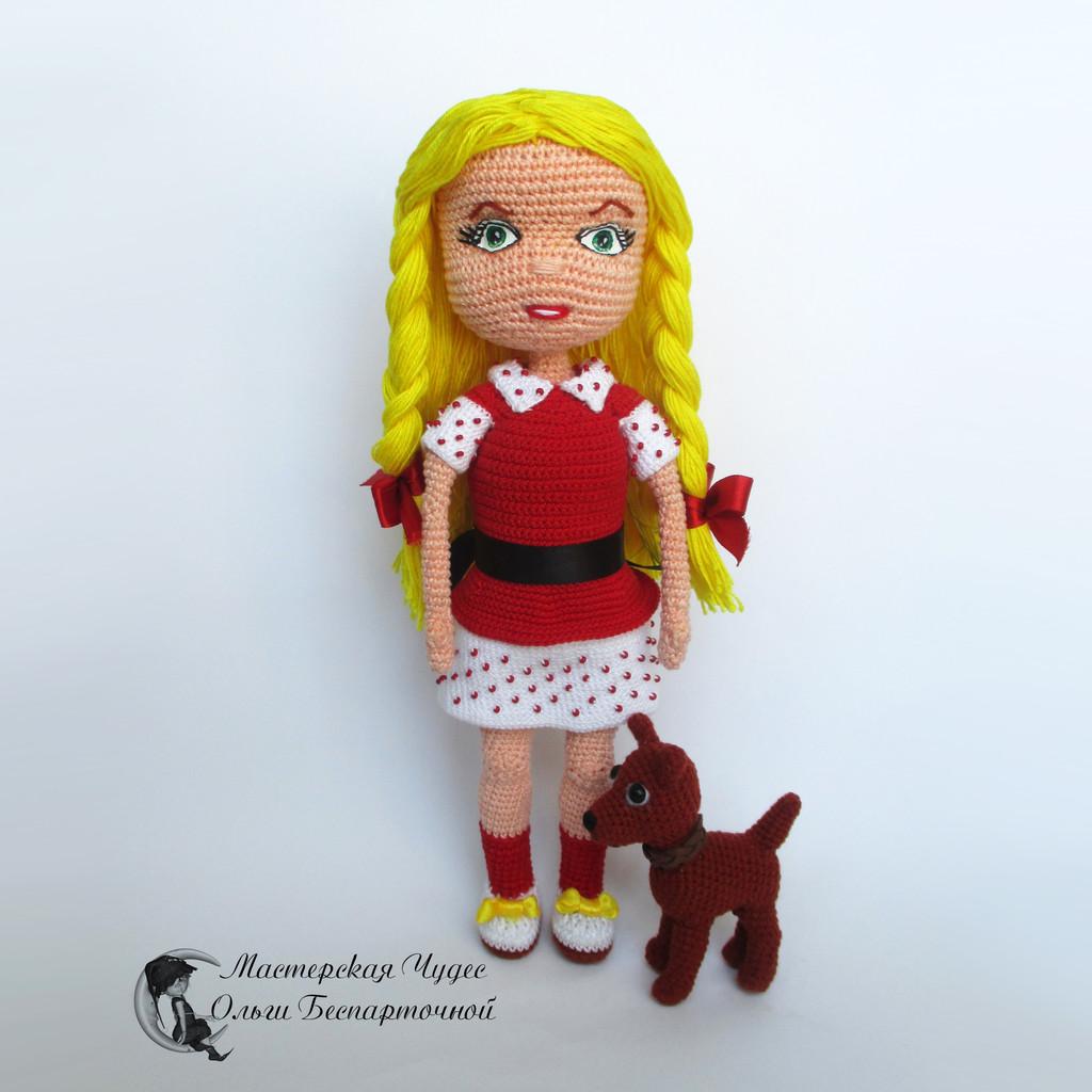 Кукла Элли и Тотошка, фото, картинка, схема, описание, бесплатно, крючком, амигуруми