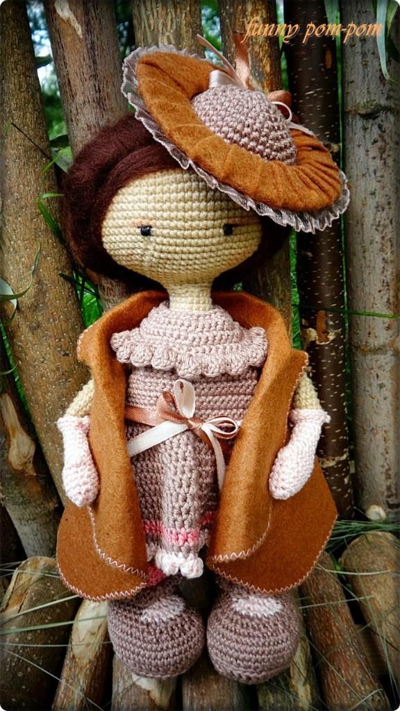 Куколка в винтажной шляпке, фото, картинка, схема, описание, бесплатно, крючком, амигуруми