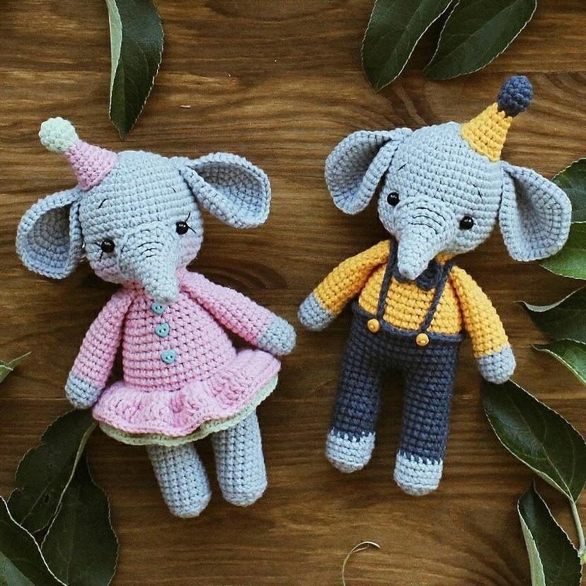Маленькие слоники, фото, картинка, схема, описание, бесплатно, крючком, амигуруми