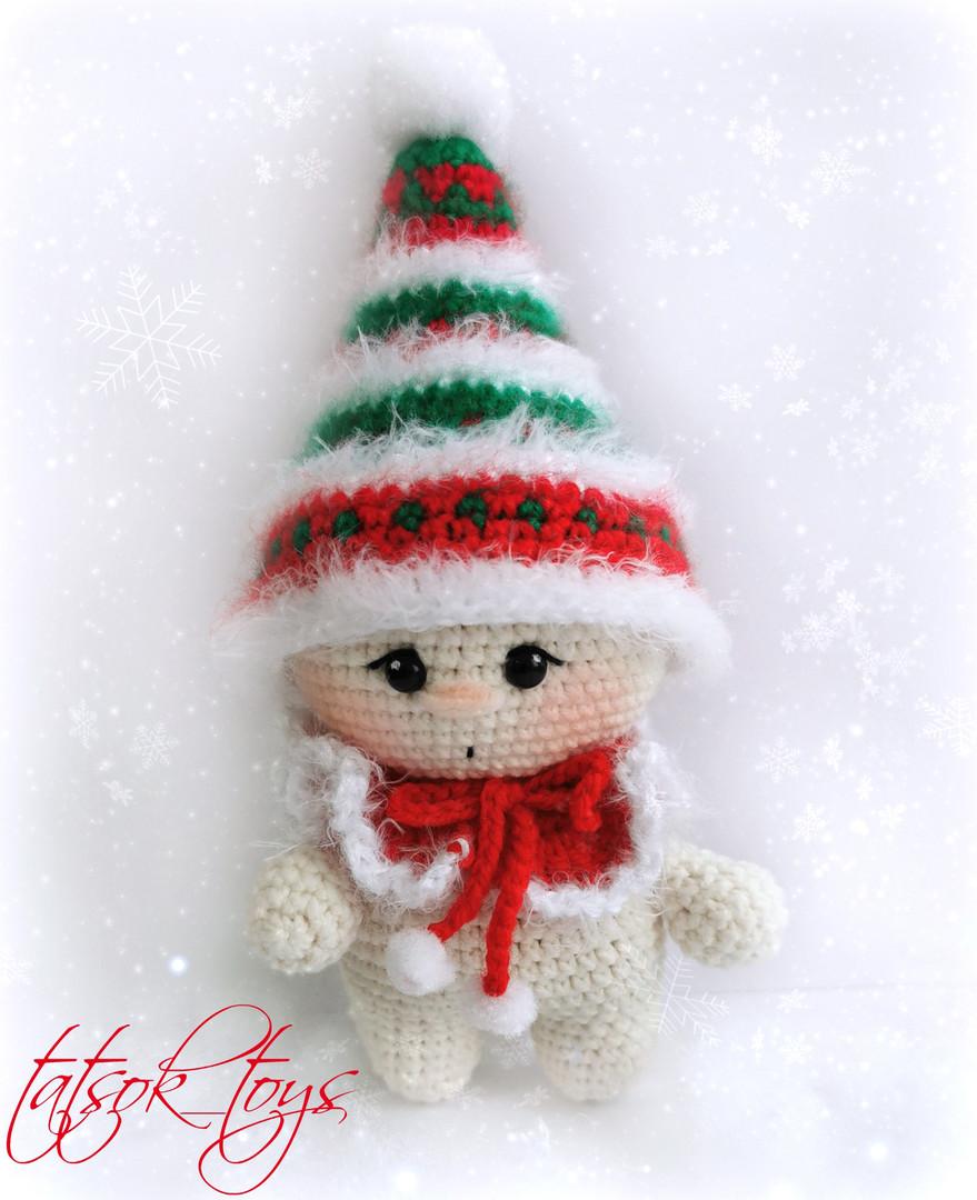 Малыш-гномик рождественский, фото, картинка, схема, описание, бесплатно, крючком, амигуруми