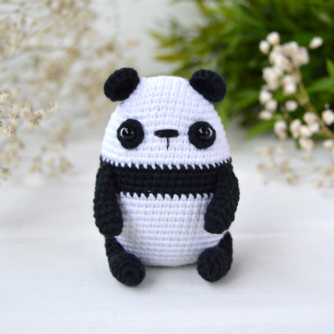 Малыш панда, фото, картинка, схема, описание, бесплатно, крючком, амигуруми