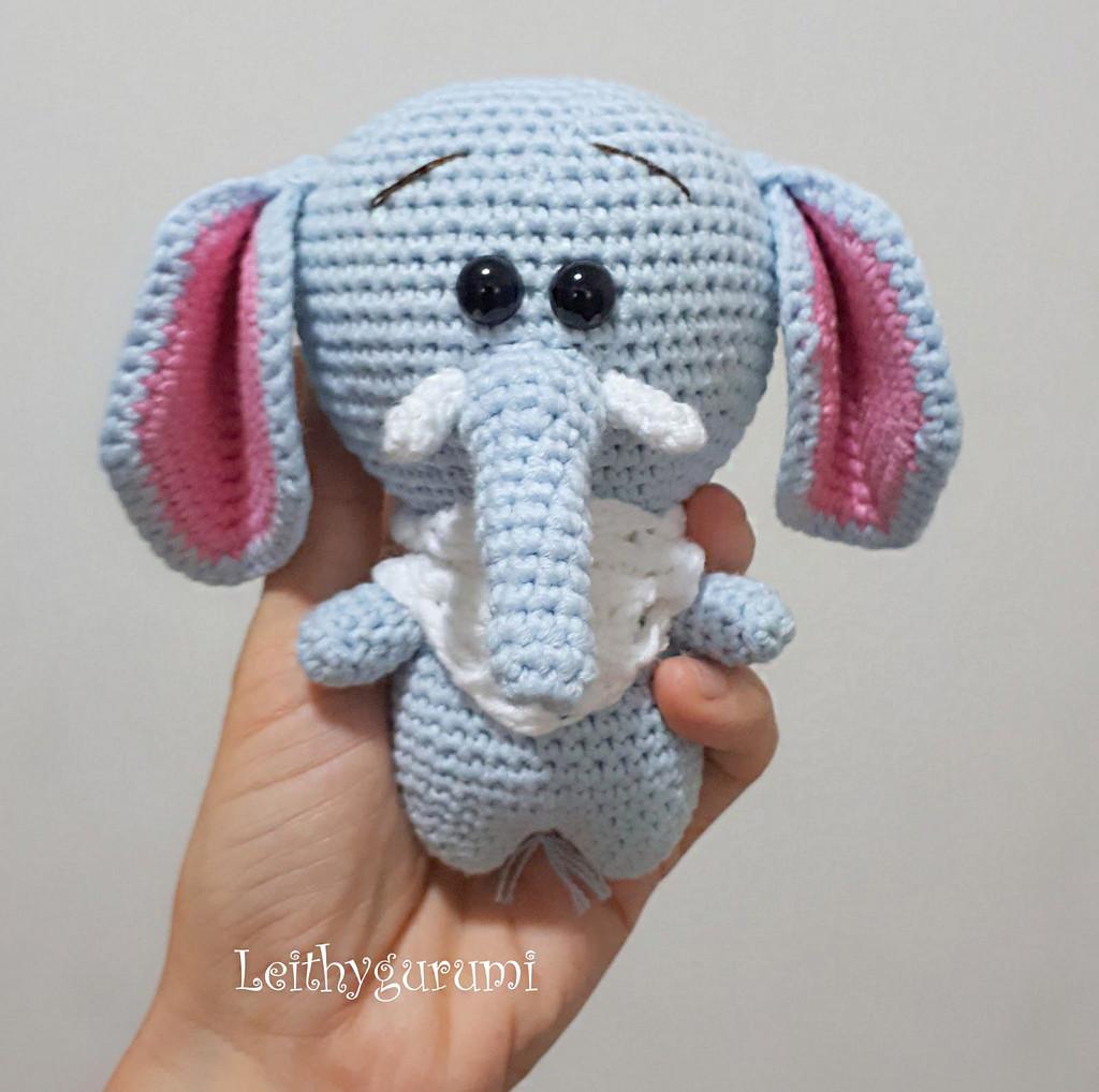Милый маленький слоник, фото, картинка, схема, описание, бесплатно, крючком, амигуруми