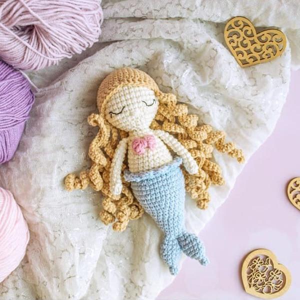 Мини куколка русалочка, фото, картинка, схема, описание, бесплатно, крючком, амигуруми