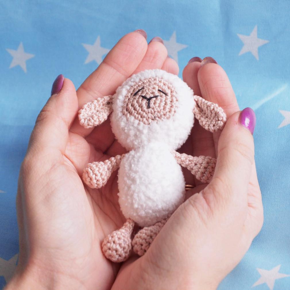 Мини овечка-сплюшка, фото, картинка, схема, описание, бесплатно, крючком, амигуруми