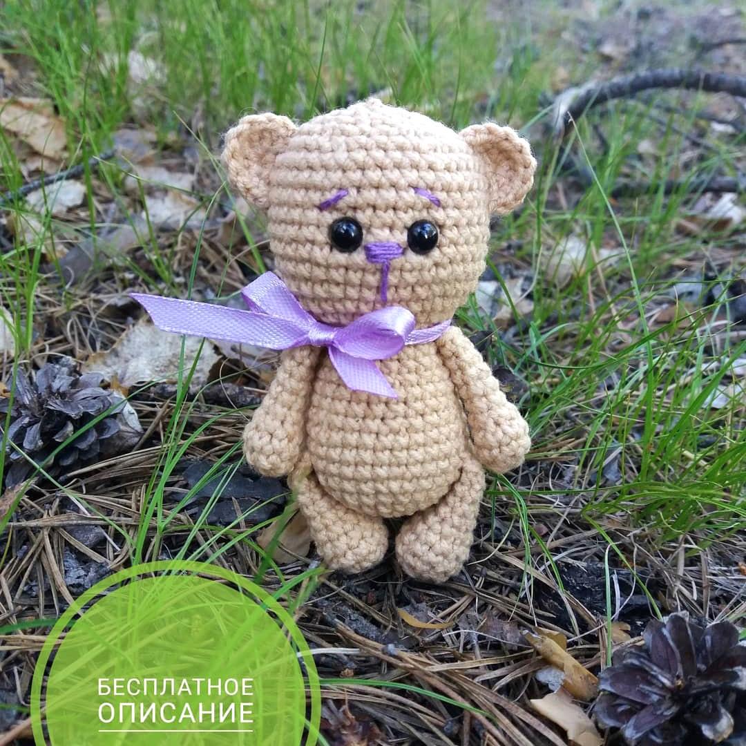 Мишка для куклы, фото, картинка, схема, описание, бесплатно, крючком, амигуруми