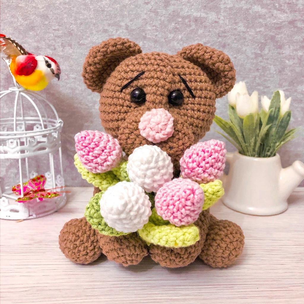 Мишка с тюльпанами, фото, картинка, схема, описание, бесплатно, крючком, амигуруми