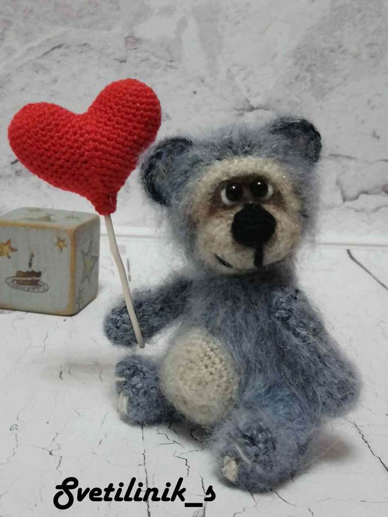 Мишка Валентин, фото, картинка, схема, описание, бесплатно, крючком, амигуруми