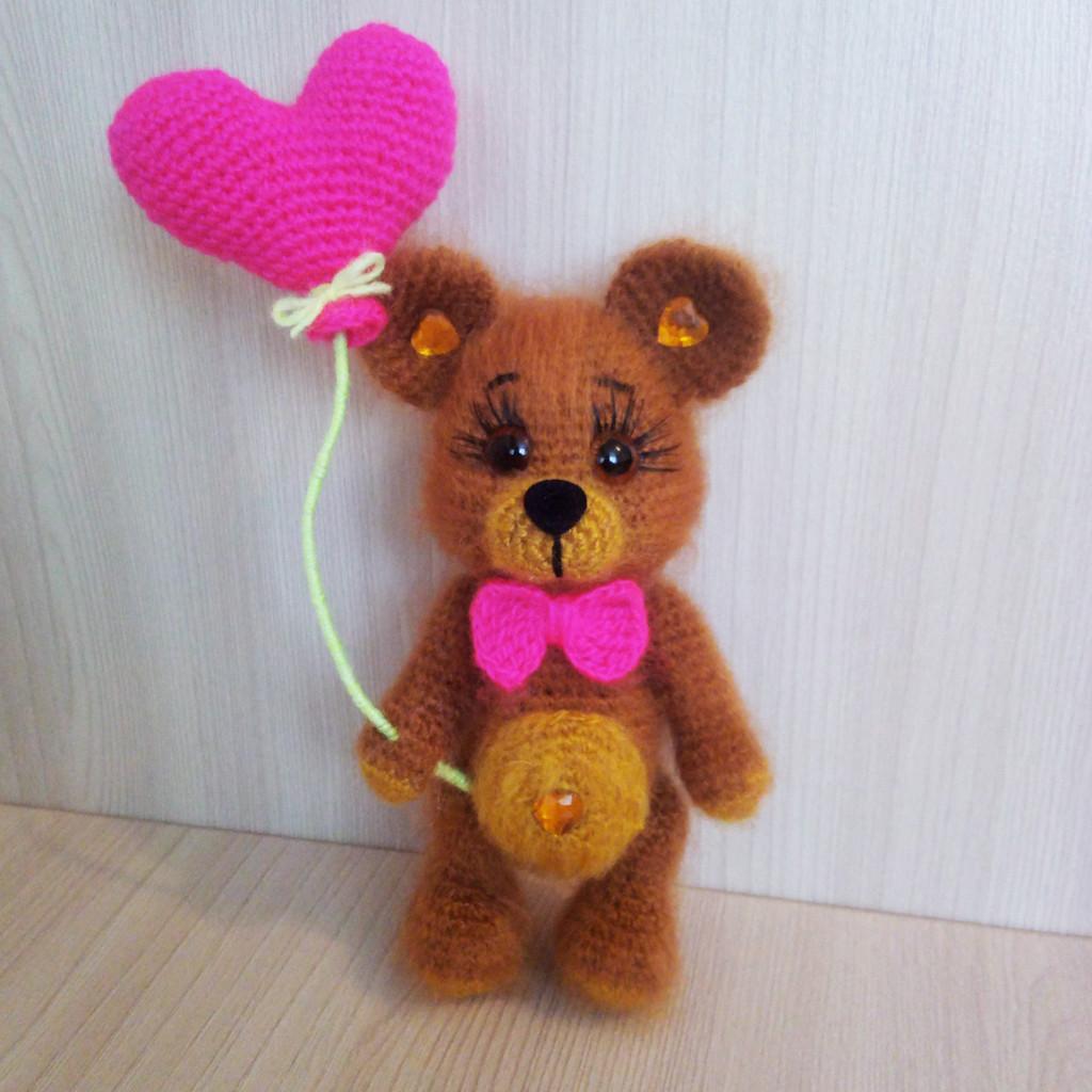 Мишка-валентинка, фото, картинка, схема, описание, бесплатно, крючком, амигуруми