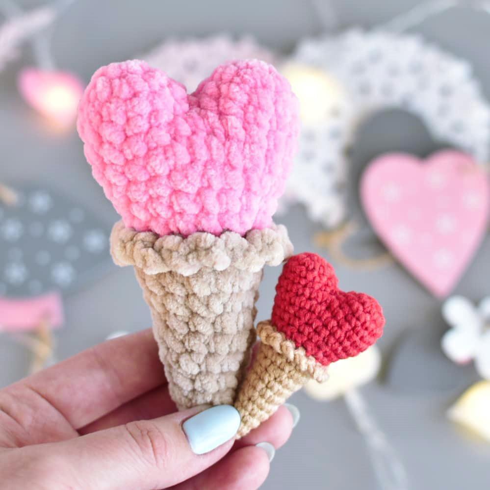 Мороженое Сердце, фото, картинка, схема, описание, бесплатно, крючком, амигуруми