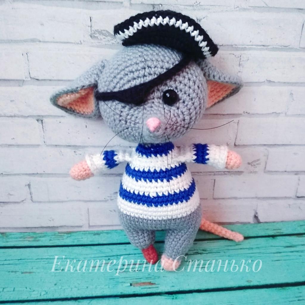 Мышонок Пират, фото, картинка, схема, описание, бесплатно, крючком, амигуруми