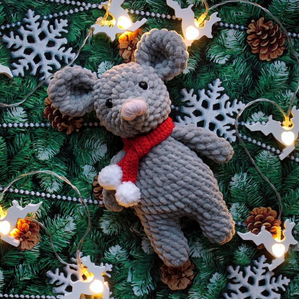 Мышонок Санта, фото, картинка, схема, описание, бесплатно, крючком, амигуруми