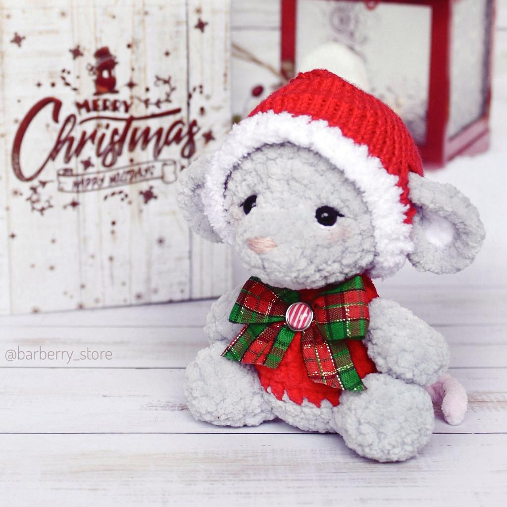 Новогодняя мышка, фото, картинка, схема, описание, бесплатно, крючком, амигуруми