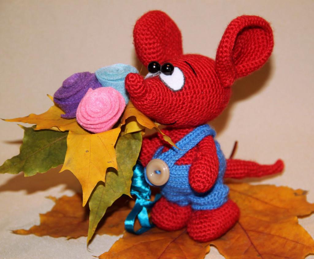 Осенний мышонок Сеня, фото, картинка, схема, описание, бесплатно, крючком, амигуруми