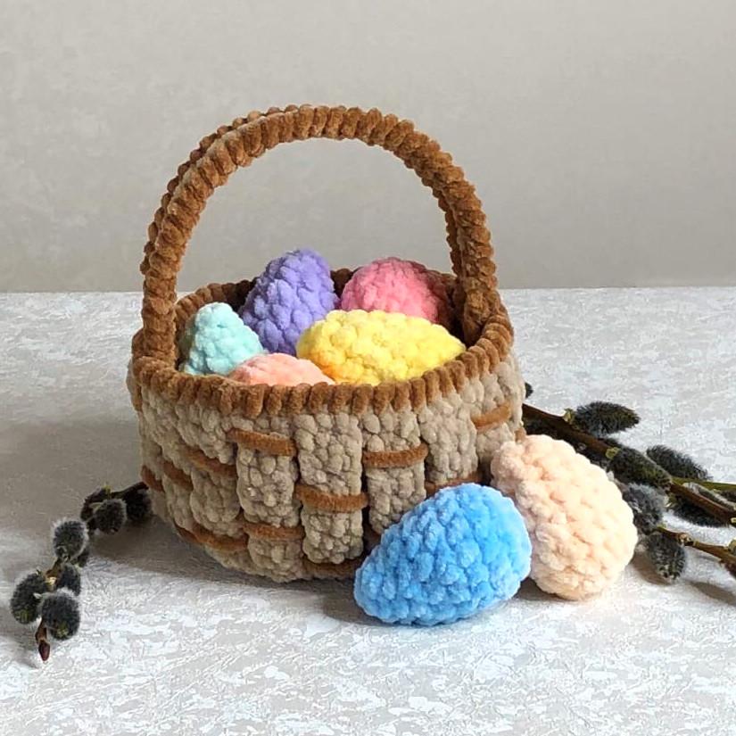 Пасхальная корзинка с яйцами, фото, картинка, схема, описание, бесплатно, крючком, амигуруми