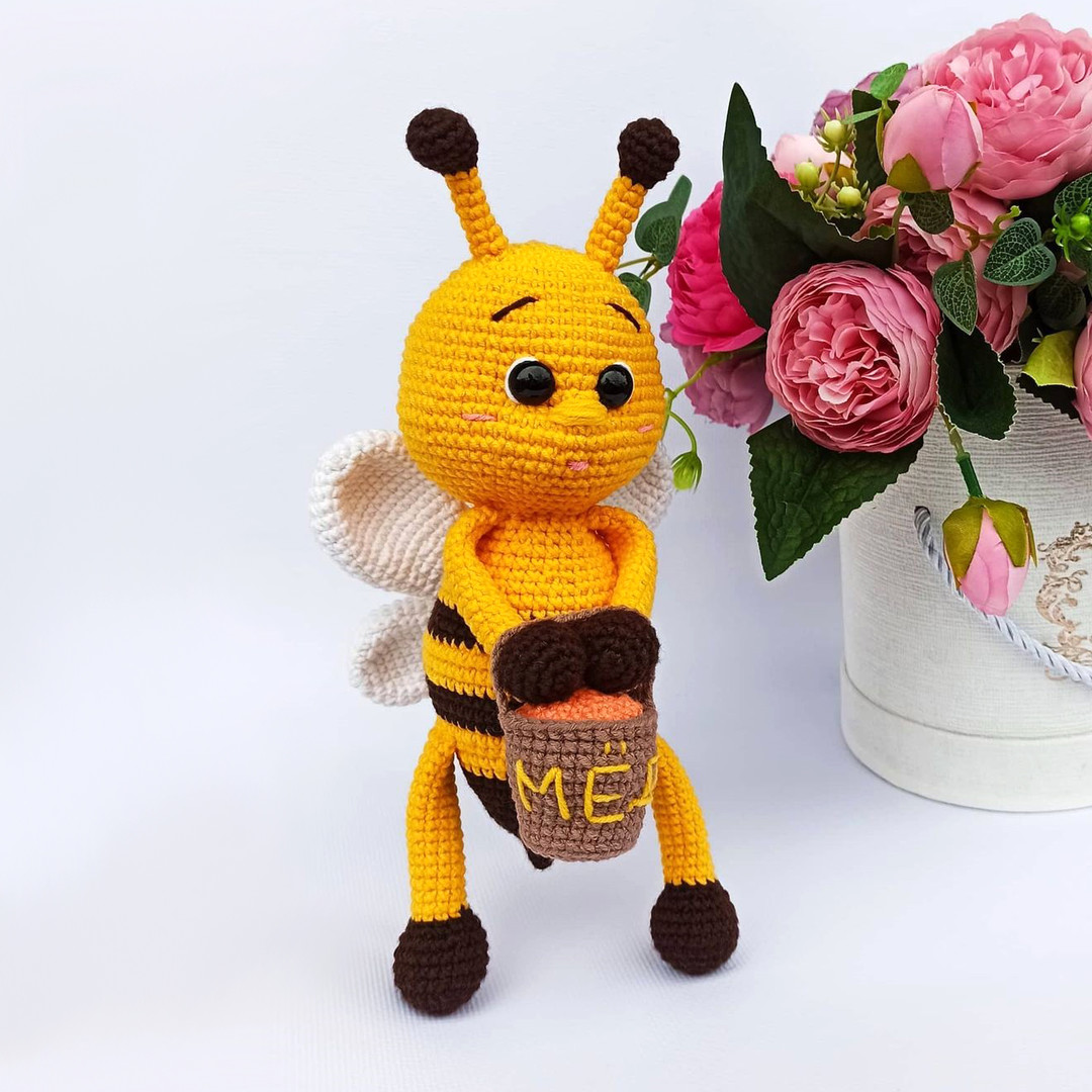 Пчёлка с мёдом, фото, картинка, схема, описание, бесплатно, крючком, амигуруми