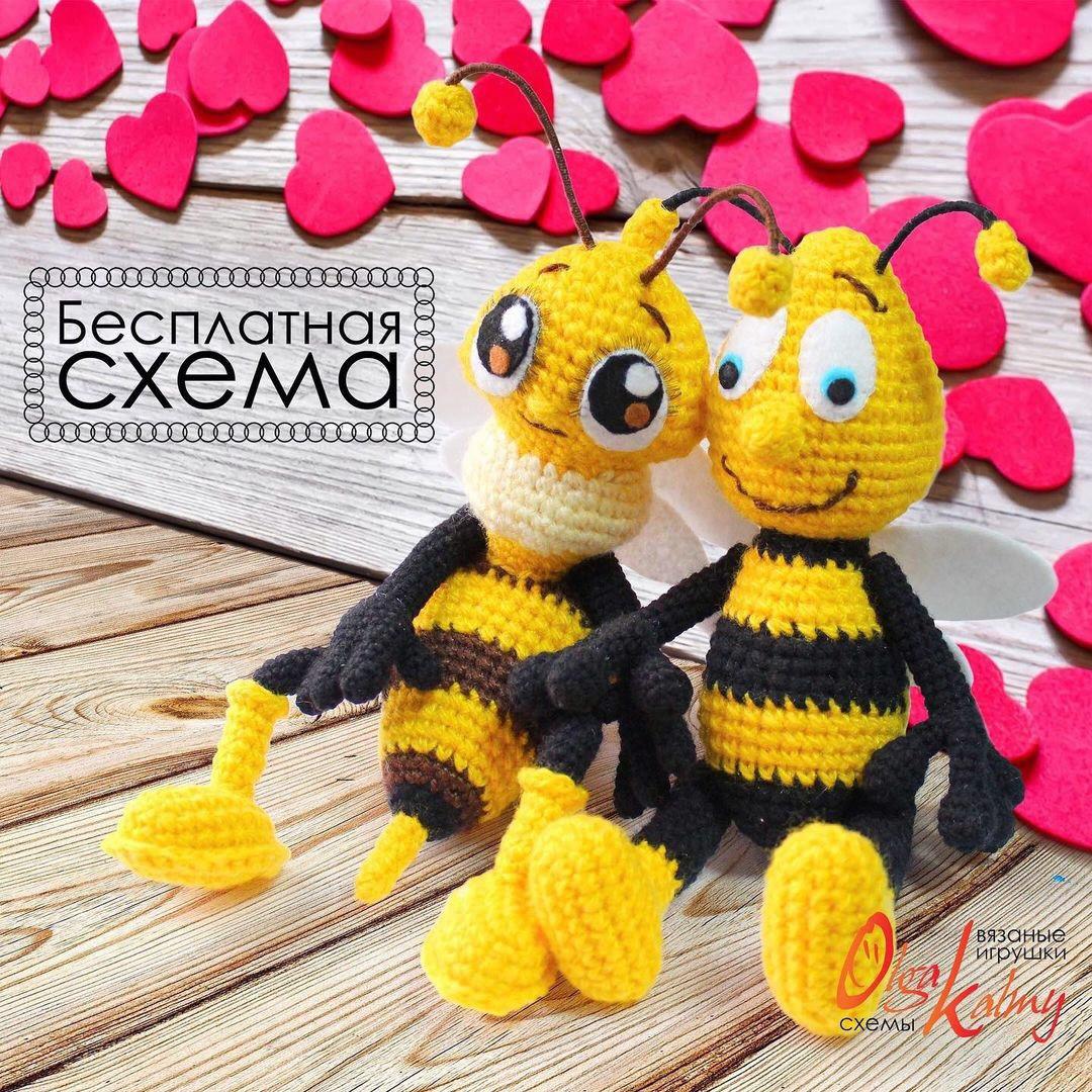 Пчёлки, фото, картинка, схема, описание, бесплатно, крючком, амигуруми