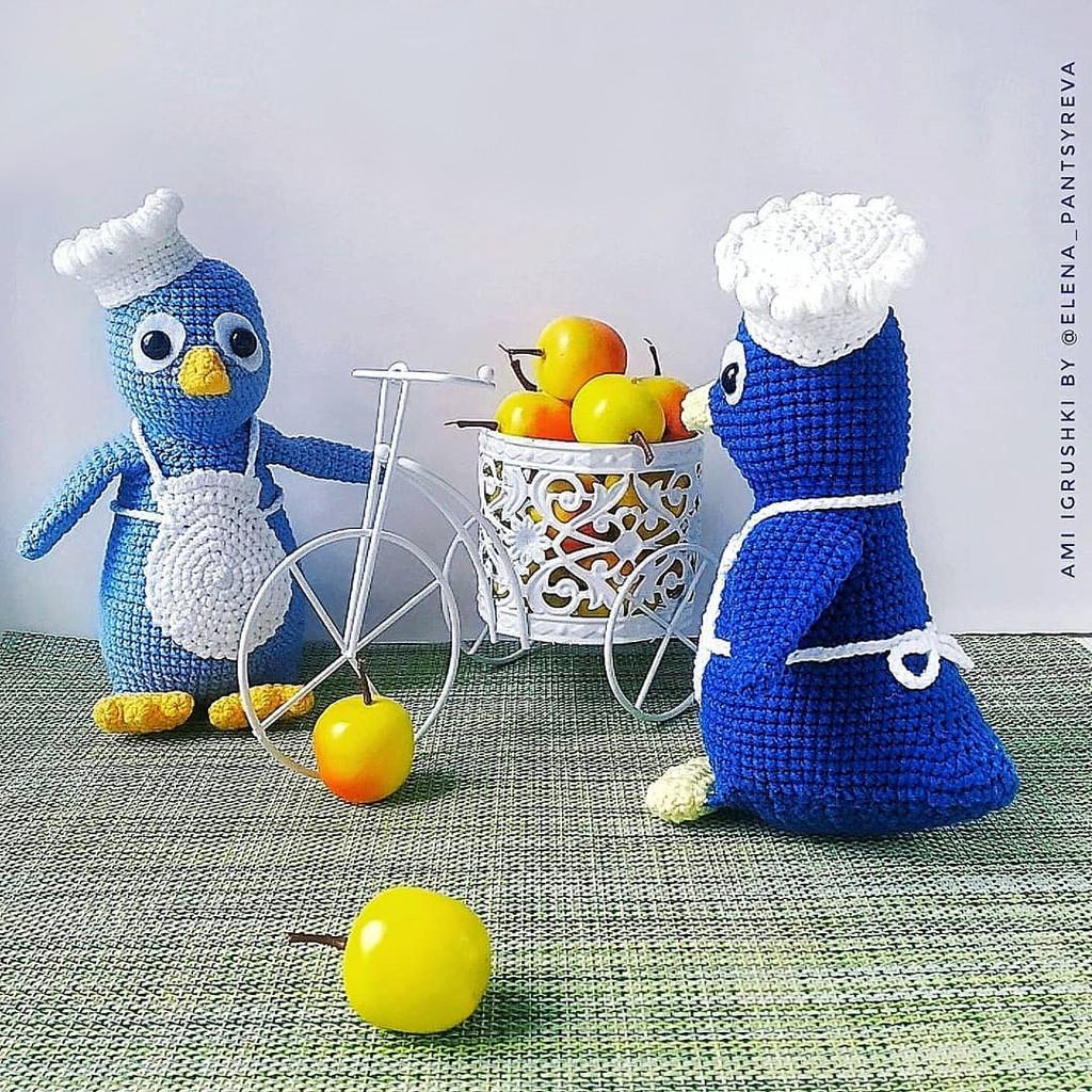 Пингвинёнок поварёнок, фото, картинка, схема, описание, бесплатно, крючком, амигуруми