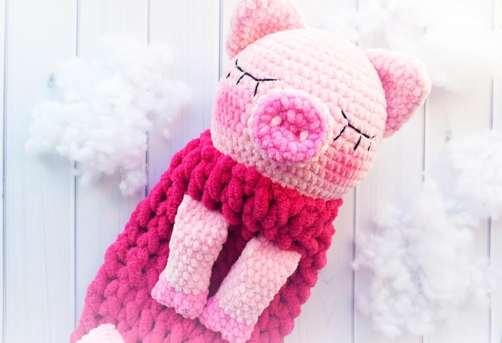 Пижамница Хрюшка-сплюшка, фото, картинка, схема, описание, бесплатно, крючком, амигуруми