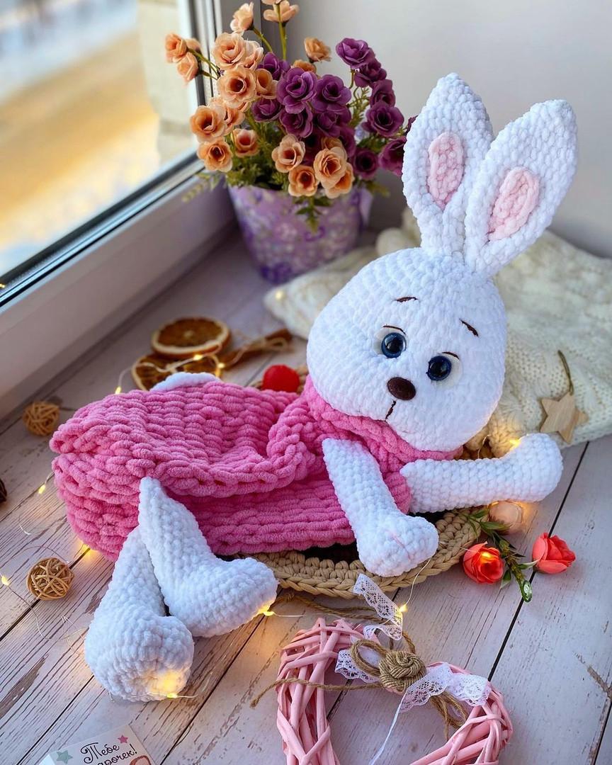 Пижамница зайка, фото, картинка, схема, описание, бесплатно, крючком, амигуруми