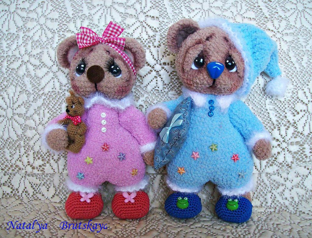 Пижамные мишутки Сёма и Сима, фото, картинка, схема, описание, бесплатно, крючком, амигуруми