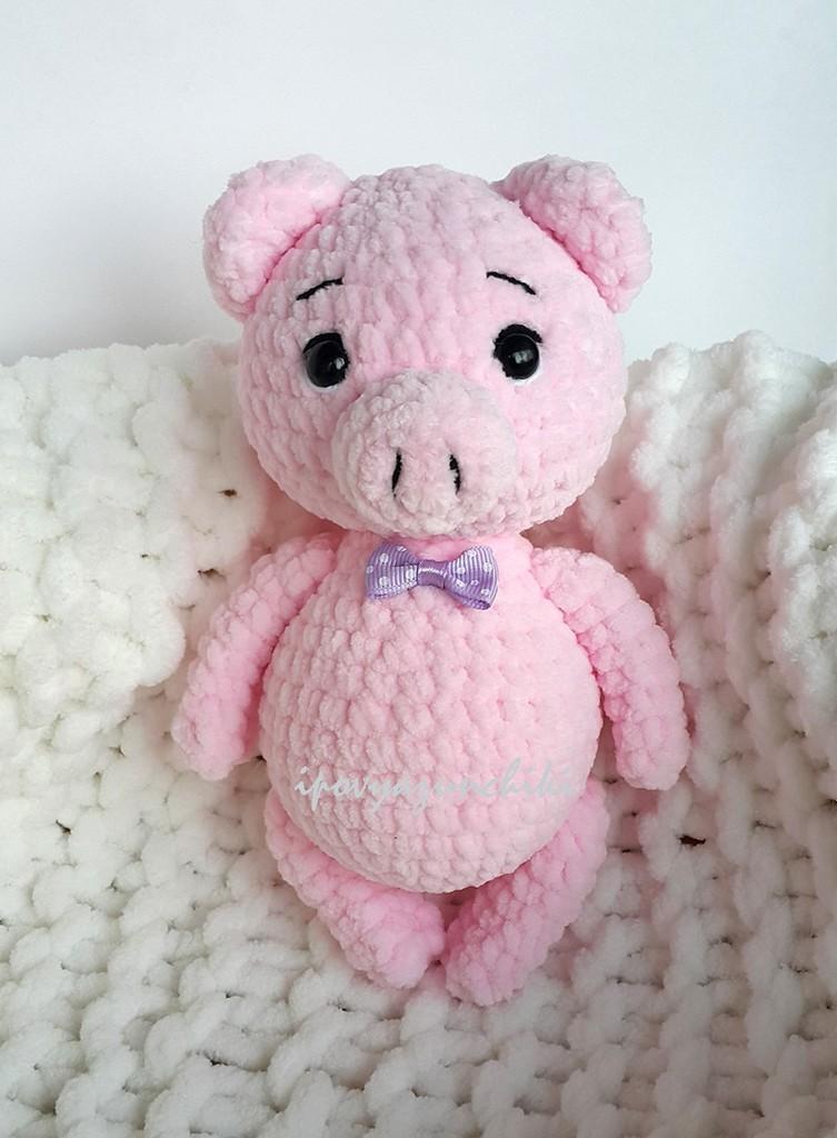 Плюшевая Свинка, фото, картинка, схема, описание, бесплатно, крючком, амигуруми