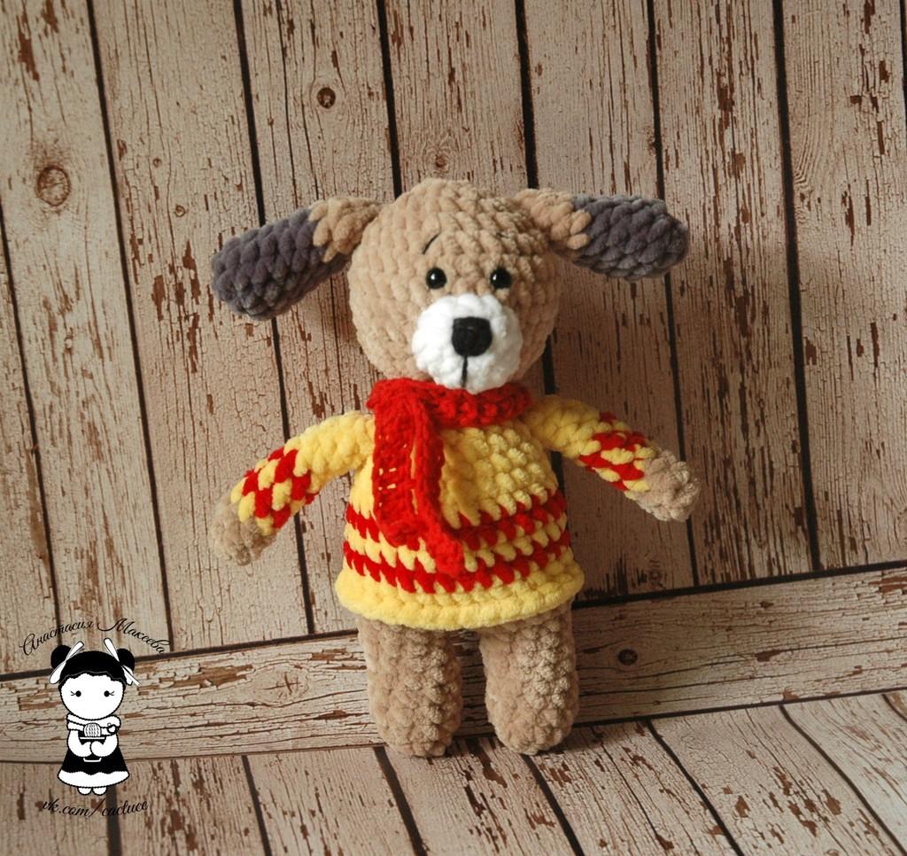 Плюшевый щенок, фото, картинка, схема, описание, бесплатно, крючком, амигуруми