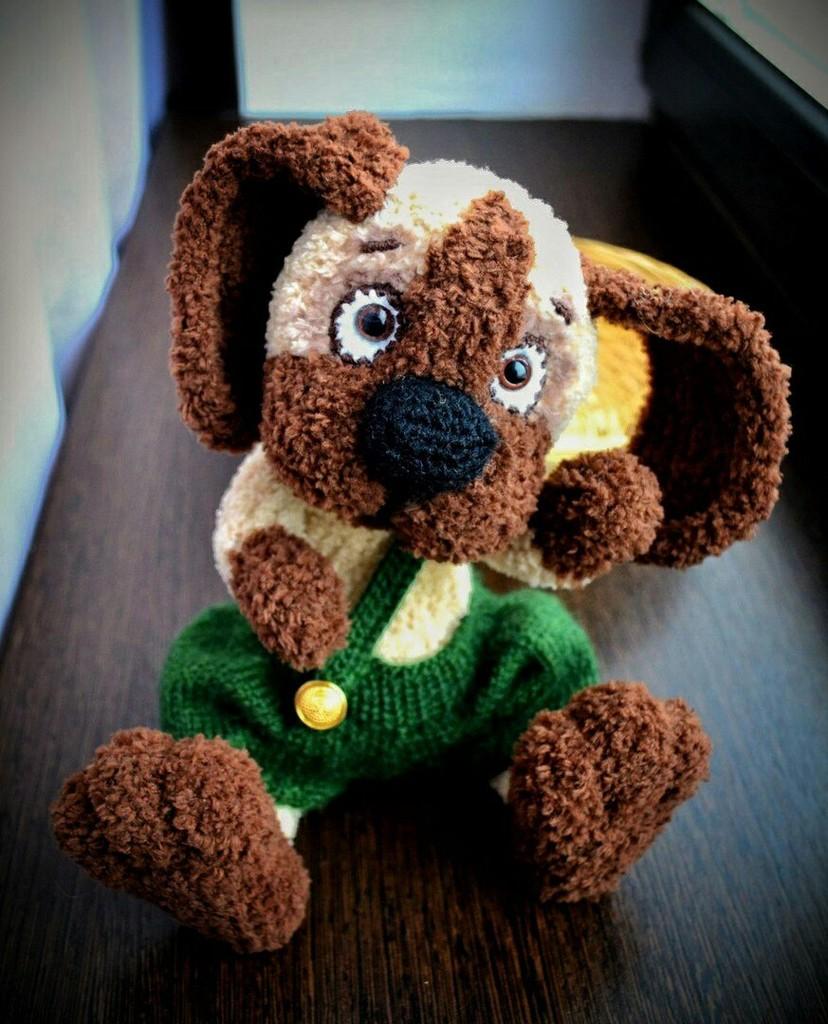 Плюшевый щенок в шортах, фото, картинка, схема, описание, бесплатно, крючком, амигуруми