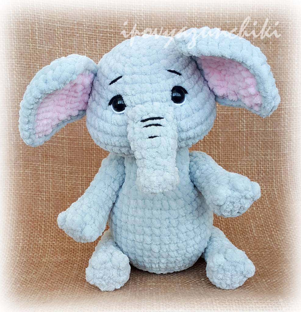 Плюшевый слоник, фото, картинка, схема, описание, бесплатно, крючком, амигуруми