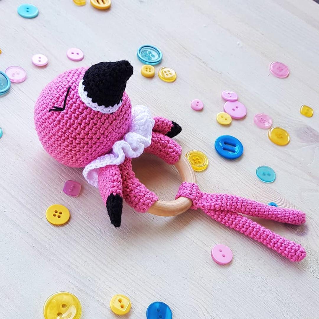 Погремушка Фламинго, фото, картинка, схема, описание, бесплатно, крючком, амигуруми