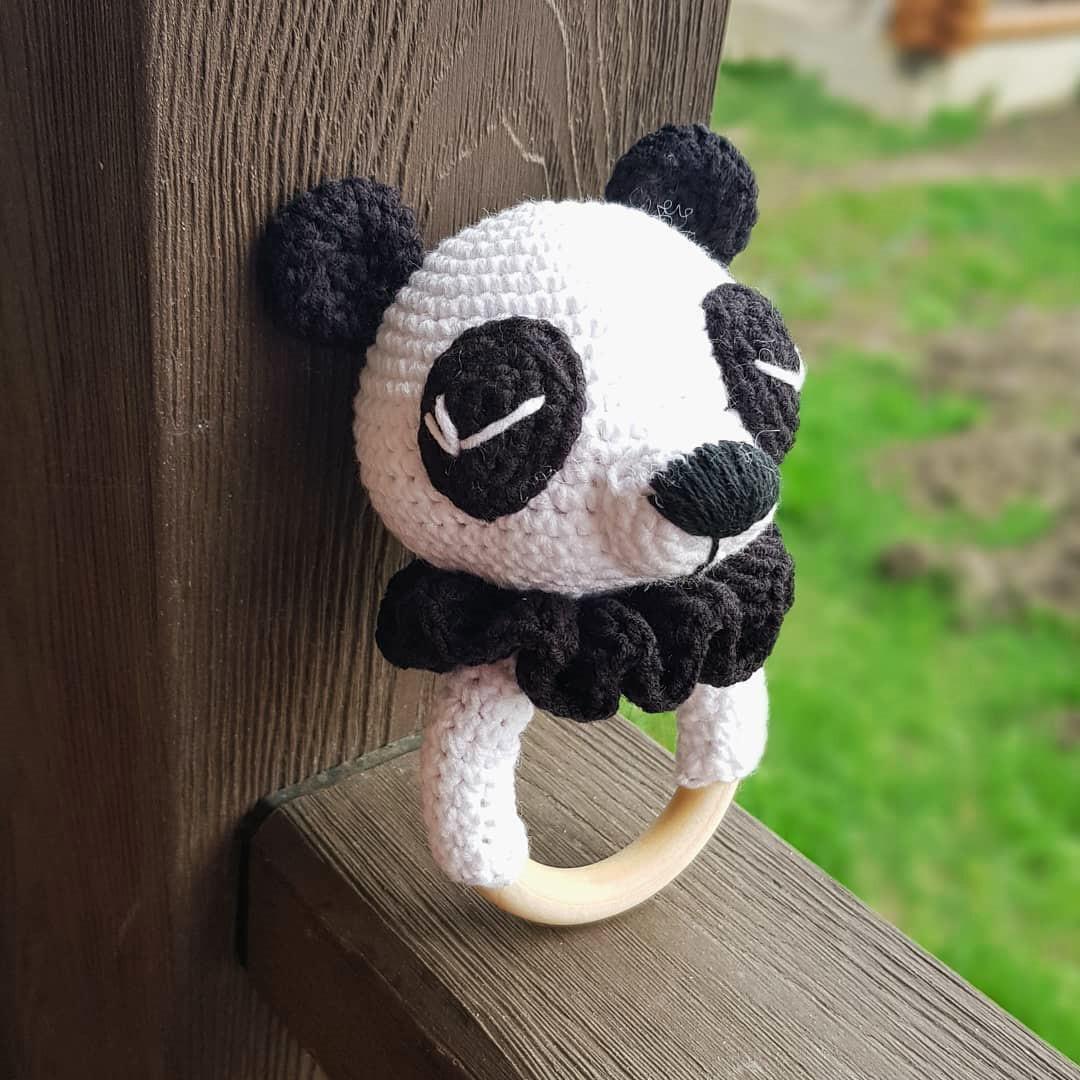Погремушка Панда, фото, картинка, схема, описание, бесплатно, крючком, амигуруми