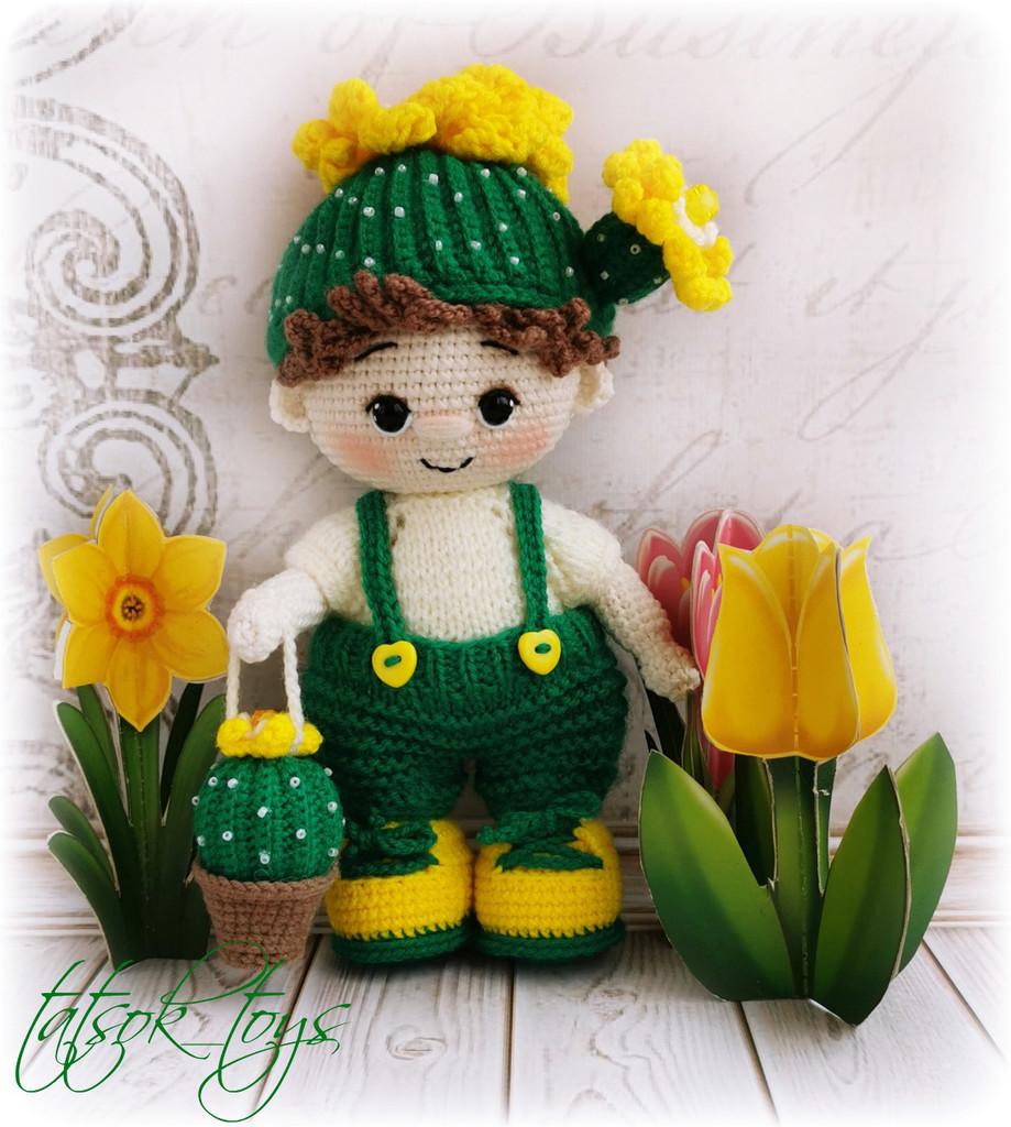 Пупс малыш Цветущий кактус, фото, картинка, схема, описание, бесплатно, крючком, амигуруми