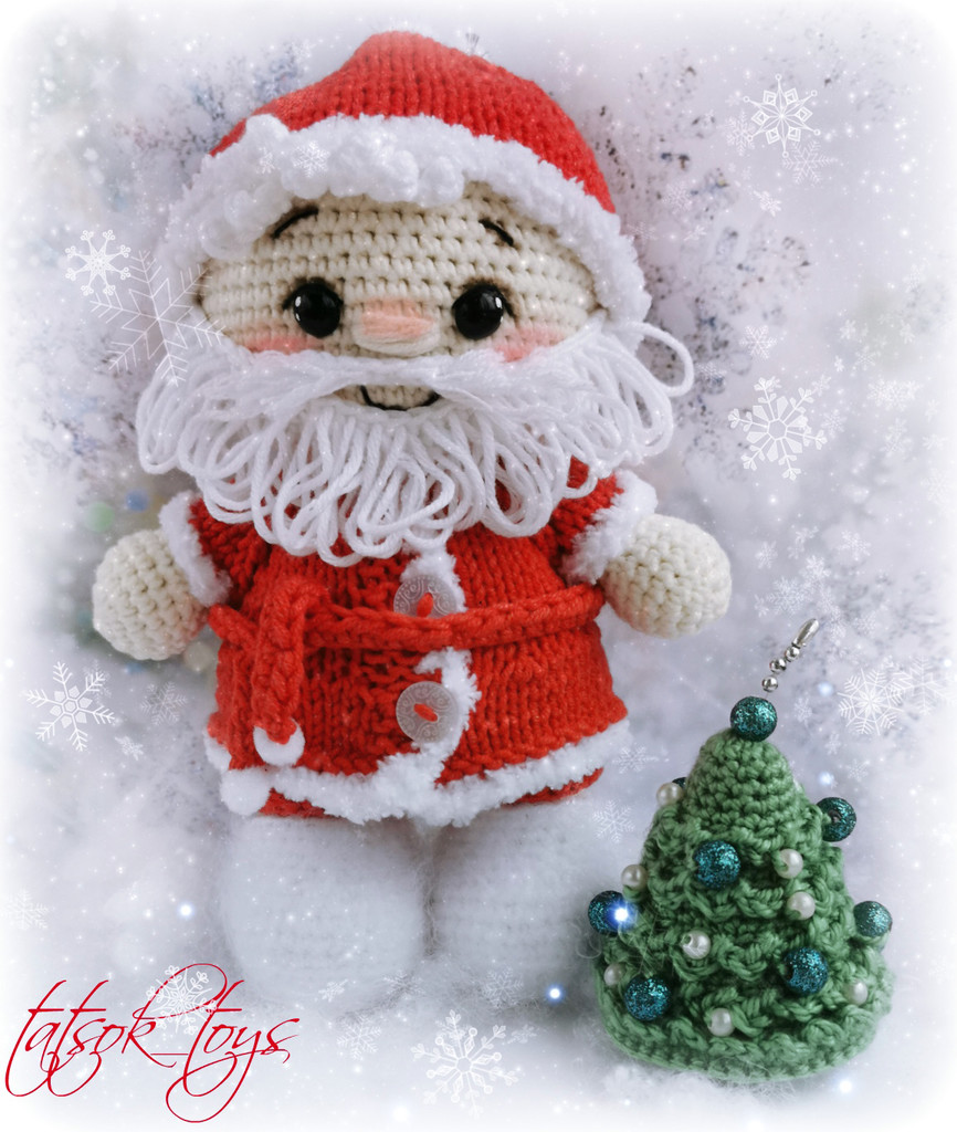 Пупс малыш в костюме Деда Мороза, фото, картинка, схема, описание, бесплатно, крючком, амигуруми
