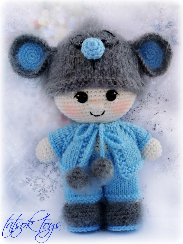 Пупс малыш в костюме мышонка, фото, картинка, схема, описание, бесплатно, крючком, амигуруми