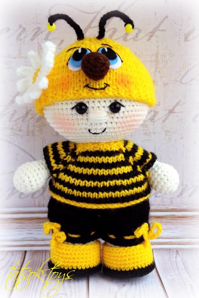 Пупс малыш в костюме пчёлки, фото, картинка, схема, описание, бесплатно, крючком, амигуруми