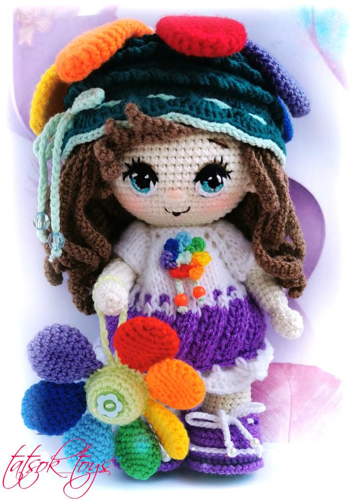 Пупс малышка Цветик семицветик, фото, картинка, схема, описание, бесплатно, крючком, амигуруми