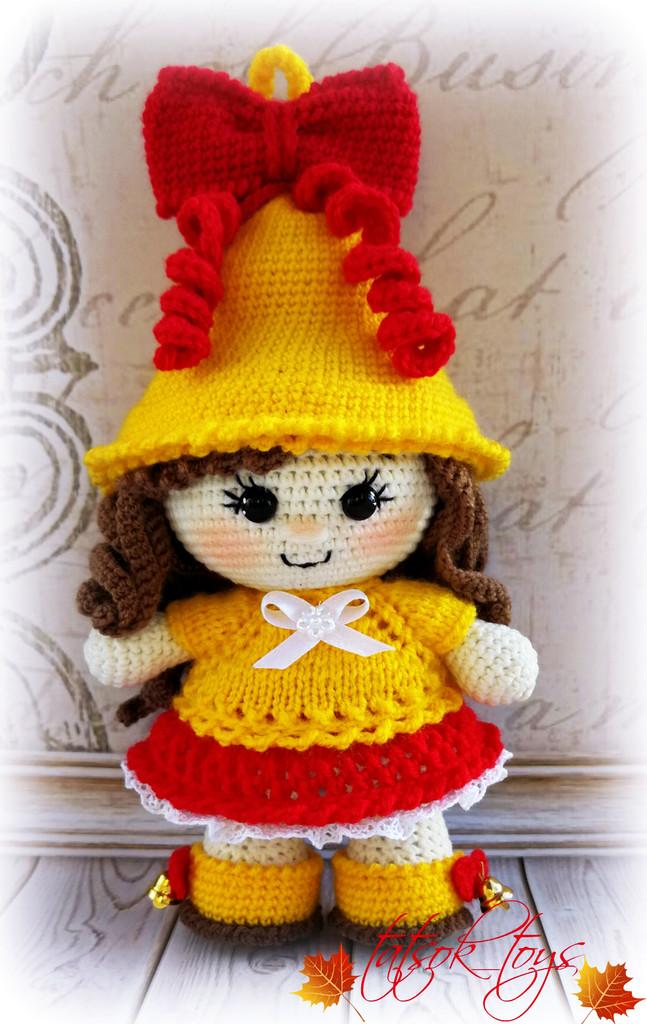 Пупс-малышка Колокольчик школьный, фото, картинка, схема, описание, бесплатно, крючком, амигуруми