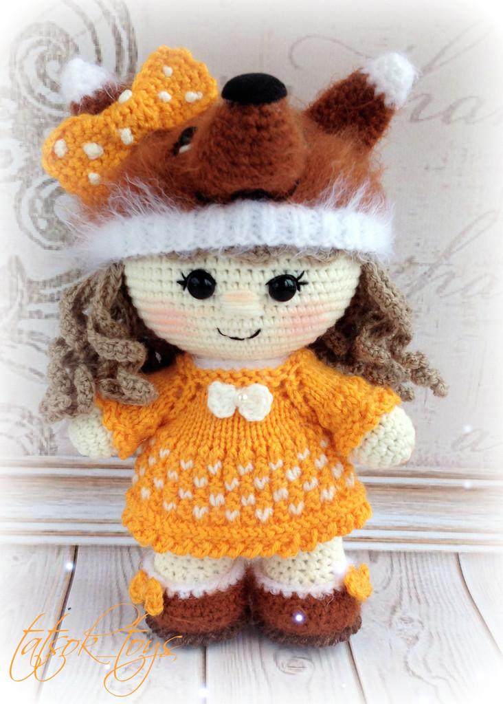 Пупс-малышка Лисёна, фото, картинка, схема, описание, бесплатно, крючком, амигуруми