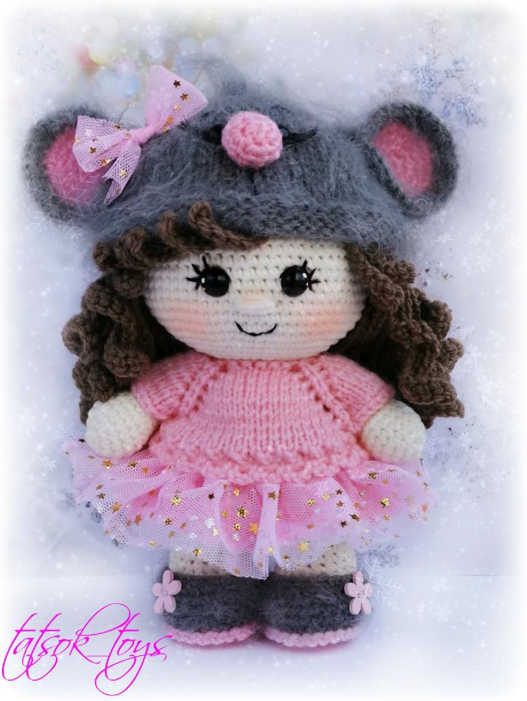 Пупс малышка в костюме мышки, фото, картинка, схема, описание, бесплатно, крючком, амигуруми