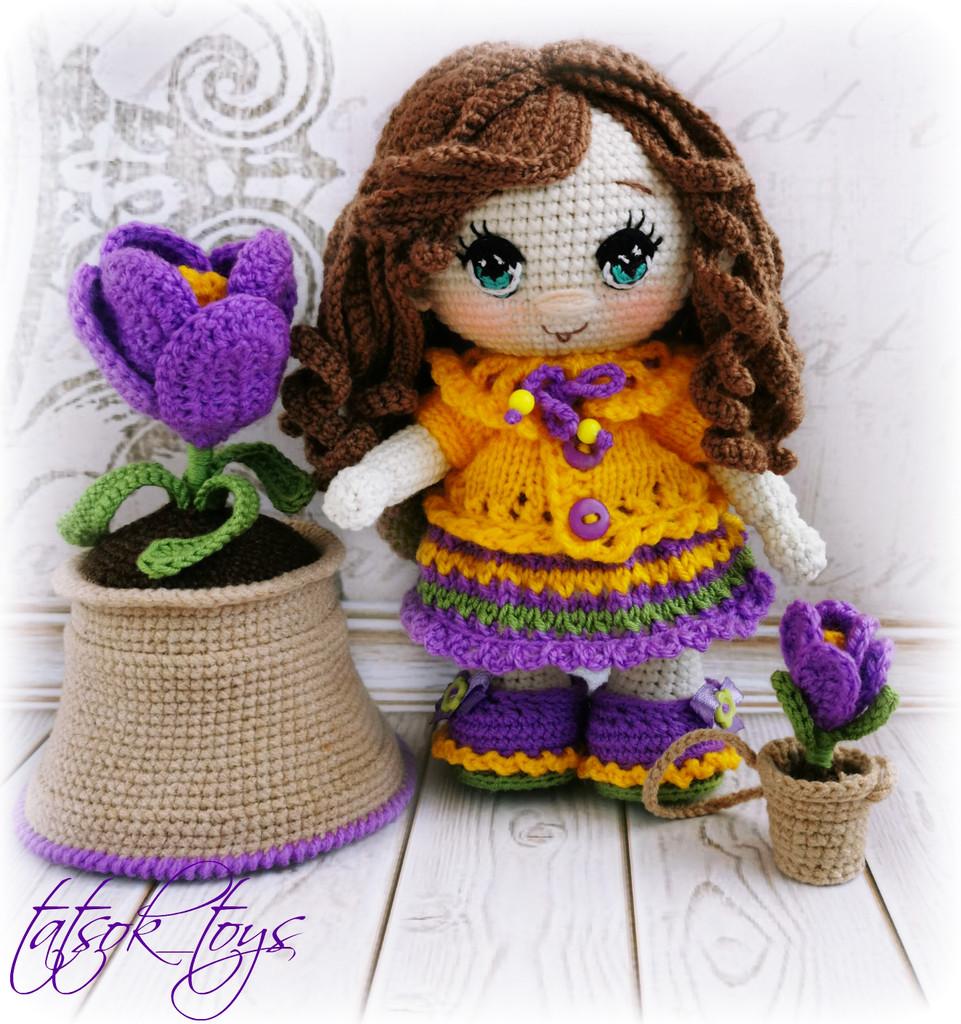 Пупс малышка весенний Крокус, фото, картинка, схема, описание, бесплатно, крючком, амигуруми