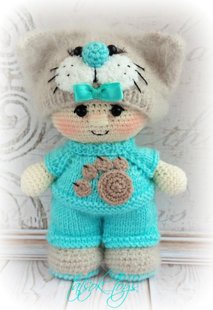 Пупс в костюме котика, фото, картинка, схема, описание, бесплатно, крючком, амигуруми