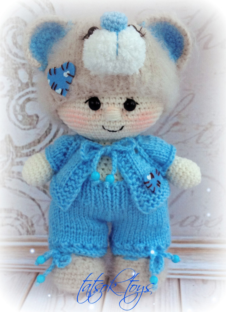 Пупс в костюме мишки Тедди, фото, картинка, схема, описание, бесплатно, крючком, амигуруми