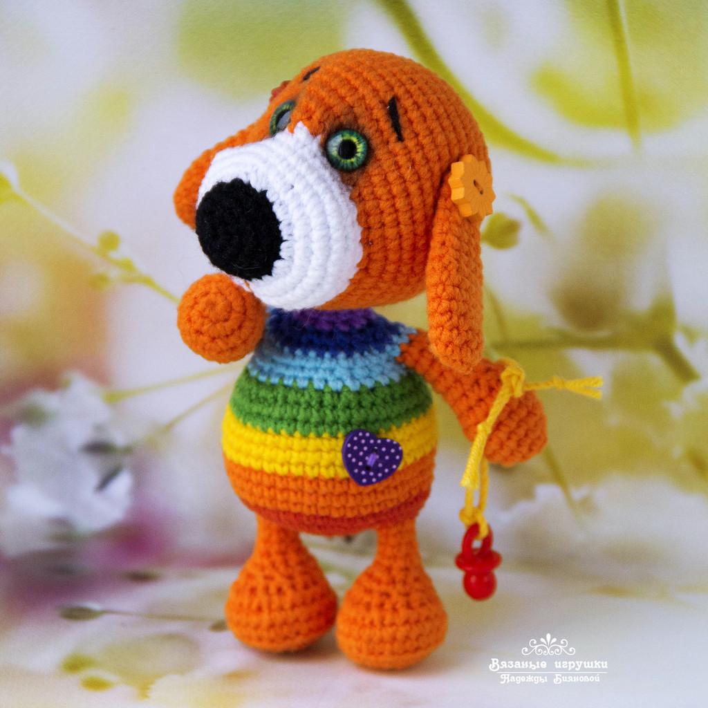 Радужный щеночек, фото, картинка, схема, описание, бесплатно, крючком, амигуруми